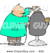 Clip Art of a White Dentist Using Big Drill on Patient's Teeth by Djart