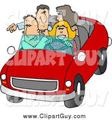Clip Art of a White Family and Friends Going on a Road Trip by Djart