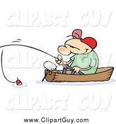 Clip Art of a White Guy Fishing in a Boat by Gnurf