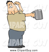 Clip Art of a White Guy Scratching His Head and Holding out a Tin Cup, Hoping for Financial Assistance and Loans by Djart