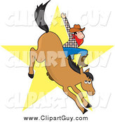 Clip Art of a White Male Cowboy Waving While Riding a Bucking Horse in a Bronco, a Yellow Star in the Background by Maria Bell