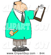 Clip Art of a White Male Doctor Reading Checklist on Clipboard and Holding a Pencil by Djart
