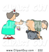 Clip Art of a White Male Patient Getting Shot in the Butt by a Nurse with a Syringe by Dennis Cox