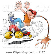 Clip Art of a White Man Doing a Skateboarding Stunt and Spitting Chewing Tobacco on the Ground by
