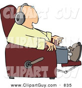 Clip Art of a White Man Sitting in a Recliner and Wearing Earphone by Djart