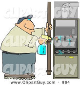 Clip Art of a White Man Spraying a Cleaning Solvent on a Standard Household Furnace by Djart