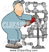 Clip Art of a White Man Working on Pipes with a Wrench by Djart