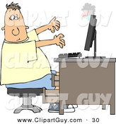 Clip Art of a White Man's Computer Monitor Blowing up in His Face by Djart