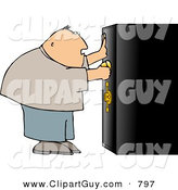 Clip Art of a White Overweight Man Unlocking a Heavy Duty Safe by Djart
