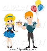Clip Art of a White Pinup Man Holding a Birthday Cake and Balloons by BNP Design Studio