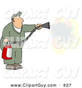 Clip Art of a White Repairman Spraying Fire Extinguisher on a Fire by Djart