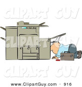 Clip Art of a White Repairman Trying to Fix a Broken Copy Machine by Djart