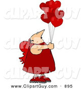 Clip Art of a White Valentine's Day Cupid Man Holding Red Heart Balloons by Djart