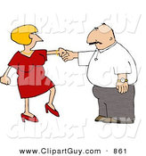 Clip Art of a White Wife Trying to Get Her Husband to Dance by Djart