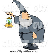 Clip Art of a Wizard Walking Around at Night with a Lit Lantern by Djart