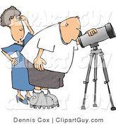 Clip Art of a Woman Standing Behind Her Husband, the Astronomer, Looking Through a Telescope by Djart