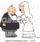 Clip Art of a Young White Man and Woman Looking at Each Other Before Getting Married by Djart
