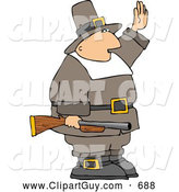 Clip Art of AArmed Pilgrim Man Waving His Hand in the Air, Holding a Rifle by Djart