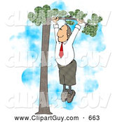 Clip Art of AAverage Business Man Hanging out on a Tree Limb for His Partner - Business Concept by Djart