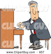 Clip Art of AAverage Elderly Man Playing the Piano by Djart
