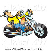 December 13th, 2013: Clip Art of ABiker Dude Riding a Powerful Orange Chopper by Snowy