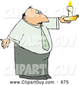 Clip Art of ACaucasian Business Man Holding a Lit Candle During a Power Outage by Djart