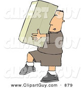 Clip Art of ACaucasian Delivery Man Carrying a Big Package/Box by Djart