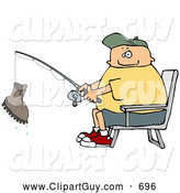 Clip Art of ACheerful Fisherman Catching a Boot with a Fishing Pole - Fishing Humor by Djart