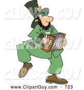Clip Art of ACheerful Irish Leprechaun Man Playing an Accordion by Djart