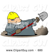 Clip Art of AChubby Caucasian Male Worker Digging a Deep Underground Hole with a Shovel by Djart
