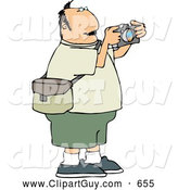 Clip Art of AChubby Overweight Man Taking Pictures with a Digital Camera - Tourist/Photographer by Djart