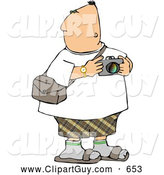 Clip Art of AChubby Tourist Looking Around with a Camera in His Hand by Djart