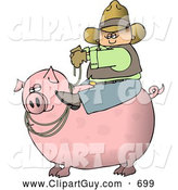 Clip Art of ACowboy Farmer Man Riding a Big Fat Pink Hog Pig by Djart