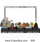 Clip Art of ACrowd of People Watching a Businessman Give His Projector PC Slideshow Presentation by Djart