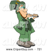 Clip Art of ACute Leprechaun Moving a Stack of Gold Coins with a Wheelbarrow by Djart
