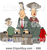 Clip Art of ADad, Mom, and Son Going on Vacation, Packed for Airlines by Djart