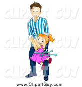 Clip Art of ADad Swinging His Daughter Around by BNP Design Studio