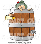 Clip Art of ADrunk Oktoberfest Man in in a Wooden Beer Keg Barrel by Djart