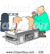 November 5th, 2013: Clip Art of AEmbarrasing Picture of a Male Doctor Giving Patient a Prostate Examination - Humorous Medical Clipart by Djart
