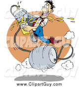 Clip Art of AFast Man Running on a Metal Barrel Beer Keg, Pouring Liquor from a Faucet at a Bar by