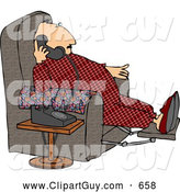 Clip Art of AFat or Overweight Couch Potato Man Talking on a Phone by Djart