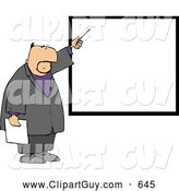 Clip Art of AFriendly Businessman Pointing at a Blank Board on a Wall by Djart
