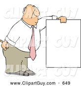 Clip Art of AFriendly Businessman Wearing a Pink Tie and Holding a Blank Sign by Djart