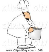 Clip Art of AFriendly Chef Moving a Big Aluminum Metal Cooking Pot by Djart