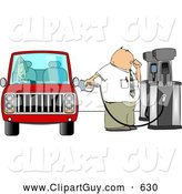 Clip Art of AFriendly Fuel Attendant Pumping Unleaded Gas into a Woman by Djart