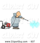 Clip Art of AFriendly Man Cleaning with a Heavy Duty Gas Powered Pressure Washer by Djart
