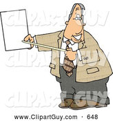Clip Art of AFriendly Smiling Male Lawyer Pointing at an Important Blank Piece of Paper by Djart