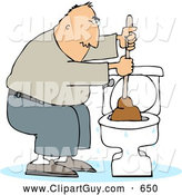 Clip Art of AFrustrated Man Plunging a Clogged Toilet by Djart