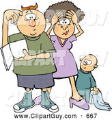Clip Art of AFrustrated New Mom and Dad Trying to Figure out How to Raise a Baby Boy - Parenting Humor by Djart