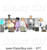 Clip Art of AGroup of Caucasian and African American Office Employees Doing Their Daily Routine by Djart
